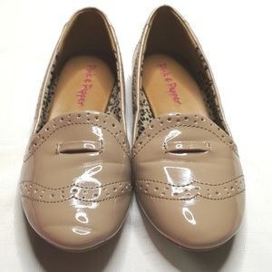 Pink & Pepper Patent Nude Oxford Flats